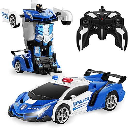 Transforme RC Car Robot, Control Remoto Coche Independiente 2.4G Robot Deformation RC Coche Juguete Con Una Transformación De Botones Y 360 Velocidad Drifting 1:18 Escala ( Color : Blue+white )