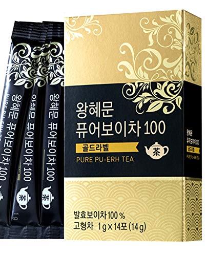 [Dr. MOON] Dr. Wang Hye Moon`s Pure Pu-erh Tea 100 Gold Label (1g x 14 packets) – 100% Pure Pu-erh Tea from Yunnan Province, 1300-Days Fermented, High Antioxidant, Natural Metabolism Booster