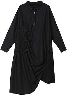 ドレス、女性のカクテルフォーマルスイング スカートの春と夏の女性の服のドレスグリッド不規則な白黒 スリーブスリムビジネスペンシル (色 : ブラック)