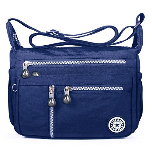 ABLE Mujer Bolsos de Moda Impermeable Mochilas Bolsas de Viaje Bolso Bandolera Sport Messenger Bag Bolsos Mano para Tablet Escolares Nylon (2-Azul)