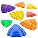 Sunny & Fun Balance Stepping Stones Obstacle Course for Kids   Set of 8 River Stones in 2 Varying Sizes & Steepness   Fun Indoor & Outdoor Toy Helps Build Coordination & Strength (Junior Set)
