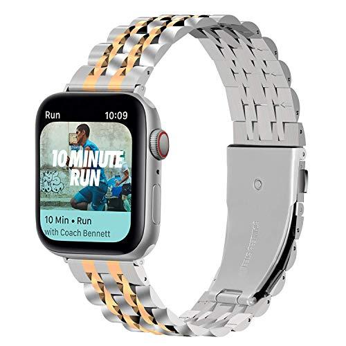 WYYHYPY 3 colores Apple Watch Strap 38mm 40mm 42mm 44mm, banda de reemplazo de metal Compatbile con la serie de relojes de Apple SE 6 5 4 3 2 1 para mujeres y hombres correa de reloj