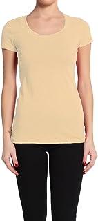 Bozzolo Women's Junior & Plus Plain Basic Scoop U Neck Short Sleeve Cotton T-Shirts