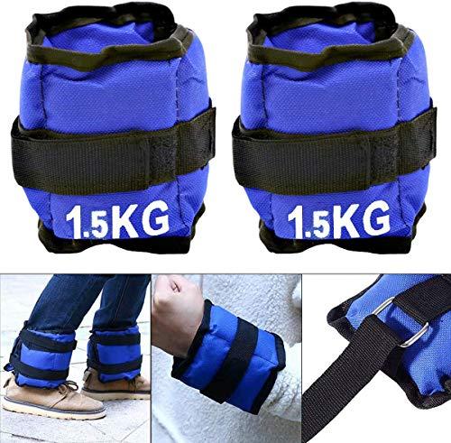 ALLPERCOM Pack de 2 Pesas de 1,5 KGs (0,75 kgs Cada UNA). para Tobillos y/o muñecas, TAMAÑO: 30 x 10 cm. para Correr, Gimnasio, Footing. Correas Ajustables, Transpirable. Máxima Comodidad.