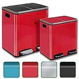 casa pura Abfalleimer Felix | Edelstahl Mülleimer mit Pedal | 2 Fach Mülltrennsystem für Küche und Büro | 30 oder 60 Liter | Trend Farben zur Auswahl (30 L - Rot) - 2