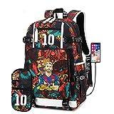 CHANGD La estrella de fútbol movimiento estudiantil bolsa de entrenamiento bolsa de hombro de gran capacidad impermeable mochila estudiantes varones viajan del bolso del bolso de carga USB Jamboree, e