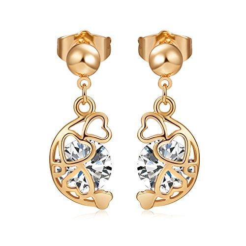 YAZILIND 18 k chapado en oro joyeria mujer exquisita Media Luna forma hueca corazon rhinestone perno prisionero Dangle pendiente (blanco)