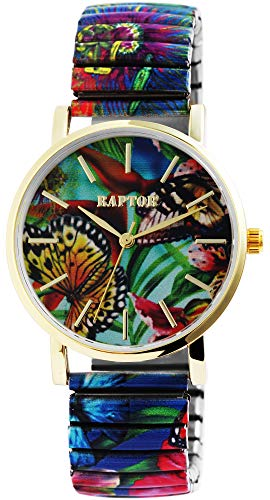 Raptor Colorful Edition Ø36mm Damen-Uhr Zugband Edelstahl Motiv Bunt Print Analog Quarz