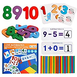 HOONEW Number Flash Cards Set Counting Stick Calculation Math Educational Toy, Montessori STEM Games Gift for 3-8 Years Girls Boys Preschool Kids Toddler Counting and Learning Colorful