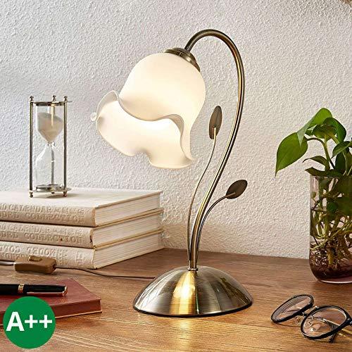 Lindby Tischlampe 'Matea' (Florentiner) in Weiß aus Glas u.a. für Wohnzimmer & Esszimmer (1 flammig, E27, A++) - Florentiner Tischleuchte, Schreibtischlampe, Nachttischlampe, Wohnzimmerlampe
