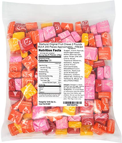 Starburst Original Fruit Chews 2 Pounds BULK 200 Pieces Approximately - FRESH from Wrigley