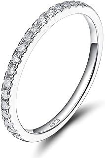 باند عروسی نقره ای EAMTI 2mm 925 استوانه ای مکعب زیرکونیا نیمی از ابد حلقه نامزدی پشته اندازه 3-13
