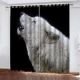 FACWAWF Material De Aislamiento Térmico con Patrón De Lobo Impreso En 3D, Buen Sombreado, Adecuado para Cortinas En La Sala De Estar Y El Dormitorio 150x166(2pcs)