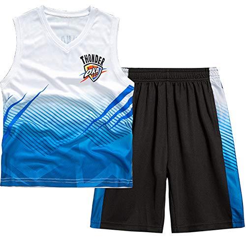 CURVEASSIST Basketball Trikots Sets Thunder # 2 Jungenweste Basketballanzug Ärmelloser Sport Schnelltrocknende Kleidung Zweiteiliger Anzug Weiß,White-170