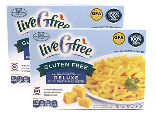 liveGfree Gluten Free Deluxe Macaroni and Cheese (Rice Pasta and Cheese, 2 Boxes)