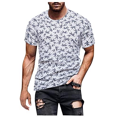 Camisetas de manga corta para hombre, de verano, de manga corta, con estampado retro, corte ajustado, básico. Blanco M