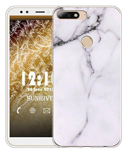 Sunrive Für Huawei Y7 2018 / Honor 7C Hülle Silikon, Transparent Handyhülle Schutzhülle Etui Hülle für Huawei Y7 2018 / Honor 7C(TPU Marmor Weißer)+Gratis Universal Eingabestift