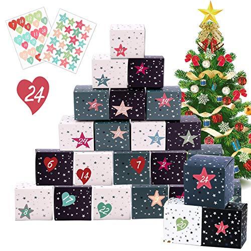 Hook Adventskalender Zum Befüllen Boxen Schachteln, 24 Geschenkbox Weihnachten DIY Basteln Kinder Selbermachen Deko Selbstbefüllen Kisten inkl. 2 Sätze Adventszahlen Aufkleber (Stern und Liebe).