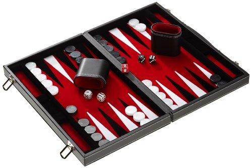 Philos 1730 - Backgammon Filzinlet rot-weiß-schwarz, medium, Koffer Kunstleder