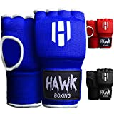 Hawk Padded Inner Gloves Training Gel Elastic Hand Wraps for Boxing Gloves Quick Wraps Men & Women Kickboxing Muay Thai MMA Bandages Fist Knuckle Wrist Wrap Protector Handwraps (Pair) (Blue, S/M)
