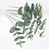 50 unidades por lote de hojas de eucalipto artificiales plantas de pared decorativas de vegetación de la boda decoración de follaje sintético