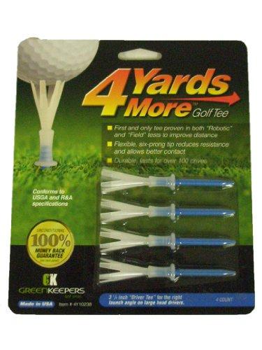 """Greenkeepers 4 More Yards Golf Tees (4pk, 3 1/4"""" Blue) New"""