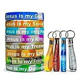 Colorful Christian Glow Bracelet Keychain (12) Pack Bulk Jesus Bracelets and Jesus Keychains / Proverbs 18:10 Products - Silicone Rubber Christian Bracelets & Christian Keychains Christian Gift Idea