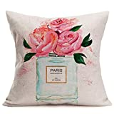 Fundas Cojín Almohada Microfibra 45x45cm Rose Flower Paris Mademoiselle Perfume Paris Wedding Decorativa con Cremallera Invisible Funda Cojín