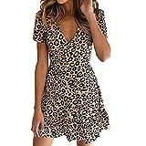 Mini Vestido de Verano con Estampado de Leopardo con Cuello en V y una línea de Vestido Corto de Moda de Manga Corta con Volantes Vestidos para Vacaciones en la Playa