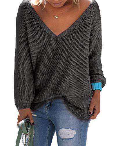 YOINS Strickpullover Damen Pullover Winter V Ausschnitt Sexy Oberteil Damen Oberteile Elegant Aktualisierung-Dunkelgrau XL
