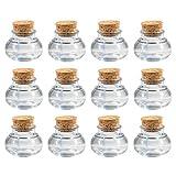 Gastgeschenk Glas mit Korken Hochzeit, 40 ml Vintage Gläschen, DIY Geschenke für Hochzeitgäste, 12 Stück Set mit Herz-Anhänger