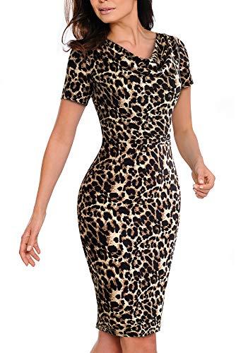 HOMEYEE Vestido elegante para mujer, color de contraste, manga corta, para verano, para negocios, B452 leopardo S