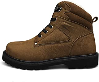 Zuipenglai Men's Shoes Men's Boots Work Boot for Men Mid-high Top Boot Lace Up Genuine Leather Vegan Thermal Metal  Ring  Decor Hand Sewing Round Toe Lug Sole Easy Care