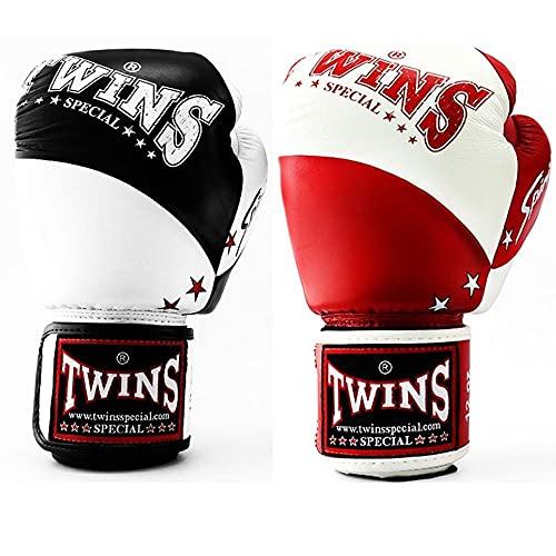 Twins Spirit Boxing Gloves BGVL10 Adult Muay Thai Kickboxing Gloves 10oz 12oz 14oz 16oz Sparring Gloves Training Gloves BlackWhite 10oz
