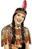 Das Kostümland Alaqua India con Diadema para Mujer - Hermosa Peluca de Pelo sintético con Trenzas Trenzadas y Colorida Diadema de Plumas ...