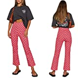 Checkerboard Print Pants for Women High Waist Looser Fitting Pants Plaid Pattern Casual Trousers 2021 Fashion Pants Red