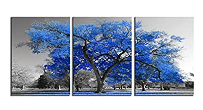 Youk-art Canvas Print Wall Art Painting Contemporary Blue Tree in Black and White Style Fall Landscape Picture Modern Giclee Artwork (Size 16x36inch) Gift for Bathroom Bedroom by Youk-art