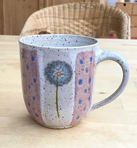 Jumbo-Kaffeebecher 480ml rot/rosa mit Pusteblumen-getöpfert