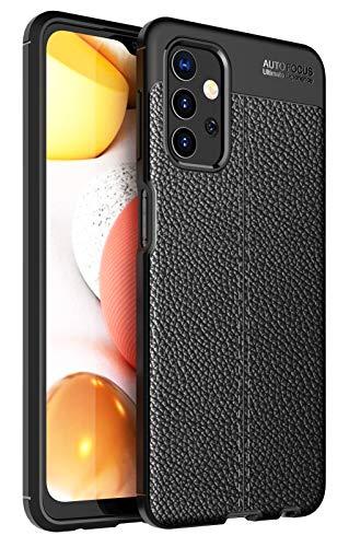 GUOQING Funda para Samsung Galaxy A32 5G, a prueba de golpes, de goma resistente a los golpes, resistente a los golpes, resistente a los golpes, textura de cuero (color: negro)