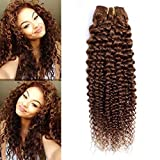 FEEL ME Brazilian Curly Hair Bundles Color 4 Light Brown Brazilian Hair Weave Bundles 100% Unprocessed Kinky Curly Virgin Human Hair Bundles 1 Bundle 100g 10 Inch