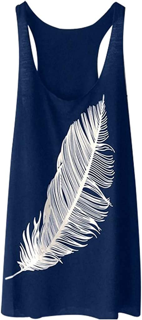 TOPUNDER Summer T Shirt Women's Feather Print Blouse Ranking TOP1 El Paso Mall F Vest Long