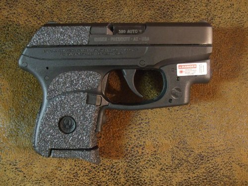 Sand-Paper-Pistol-Grips' (Brand) - Black Textured Rubber Peel and Stick Grip Enhancements for Ruger LCP 380 with CTC Trigger Guard Laser Already Installed