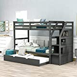 Trundle Bunk Beds, Rockjame Solid Wood Twin Over Twin Bunk Bed with Stairs, Storage and Safety Guard Rail for Boys, Girls, Kids, Teens and Adults (Gray)