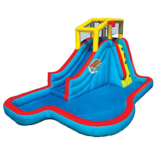 Banzai BAN-35076 Slide N Soak Splash Park Inflatable Outdoor Kids Water Park Play Center with Slides, Pool, and Air Blower Motor