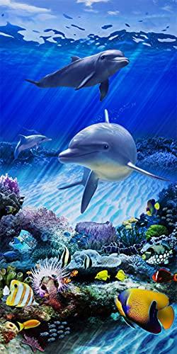 Stillshine. Grande Toalla de Playa Poliéster XL XXL,Absorción de Agua Secado Rápido Toalla de Baño,Delfín Oceano Impresión,para Nadar,Cámping,Bañarse,Picnic (Delfín 3,75 × 150 cm)