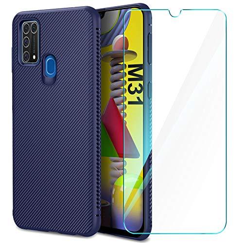 AROYI Cover Compatibile con Samsung Galaxy M31 e Pellicola Protettiva in Vetro Temperato, Silicone Custodia Slim Morbido TPU Bumper Case Antiurto Antigraffi Case Cover (Blue)