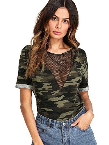 Romwe Women's Casual Sheer Mesh V Neck Short Sleeve Camo Print Tee Shirt Tops Army Green Medium