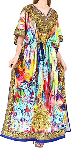 HAPPY BAY Mujeres caftán túnica 3D HD Impreso Kimono Libre tamaño Largo Abaya Vestido Jalabiyas de Fiesta para Loungewear Ropa de Dormir Playa Todos los días Cubrir Vestidos Azul_X839