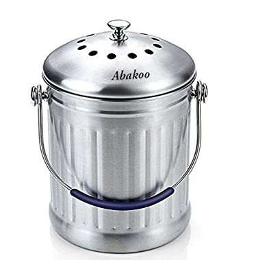 Abakoo Compost Bin 1.8 Gallon Stainless Steel 304 Stainless Steel Kitchen Composter - 4 Charcoal Filter, Indoor Countertop Kitchen Recycling Bin Pail