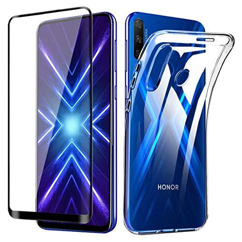 Lifeacc für Honor 9X Hülle + Vollständige Abdeckung Panzerglas Bildschirmschutzfolie, Ultra Dünn Silikon Transparent Handyhülle für Honor 9X Schutzhülle